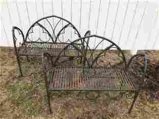 Pair of Antique Wrought Iron Gothic Benches