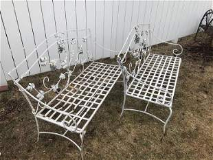 Pair of Antique Wrought Iron Settees