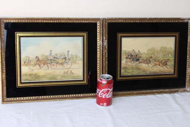 Nice Pair of Early Watercolors Signed J. Pyne