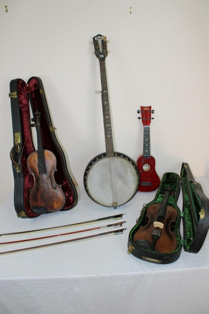Group of String Instruments, Violins, Bows