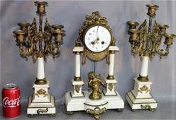 Great French Brass and Marble Clock Set