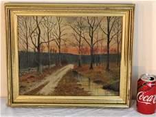 Oil on Canvas Painting Autumn Road