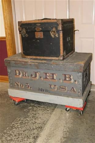 Original Civil War Wooden Trunk and German Trunk Owned