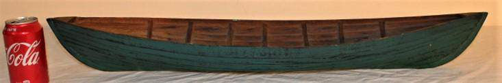 Early Hand Made Folk Art Canoe in Green
