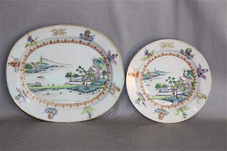 Early Platter and 2 Plates 1769-1828 with Oriental