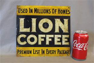 Tin Lion Coffee Ad Sign