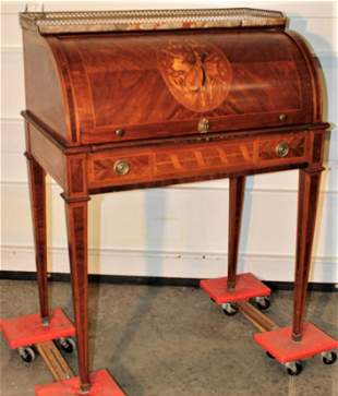 Vintage Antique French Marquetry Inlaid Cylinder Desk