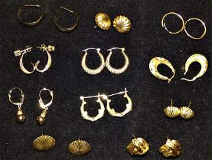 11 Set of 14k Gold Earrings