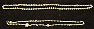 (2) 14k Gold Rope Necklaces