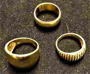 (3) Heavy 14k Gold Rings