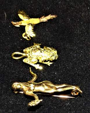 14k Gold Nude Lady, 14k Gold Frog, and Bird Pendant