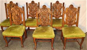 Great Set of Horner Oak Dining Chairs with Winged