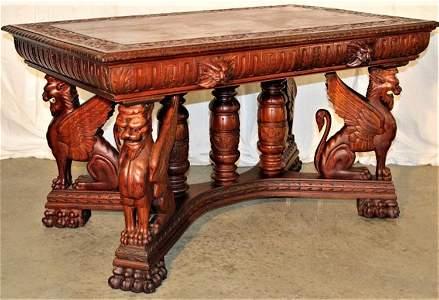 """Monumental Horner 54"""" Winged Griffin Partners Desk"""