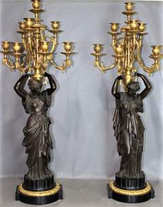 Incredible Pair of 3' Victorian Bronze and Marble