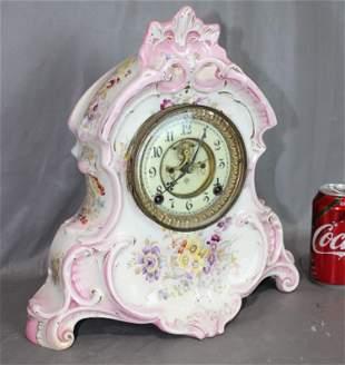 Pretty Ansonia China Clock with Open Escapement
