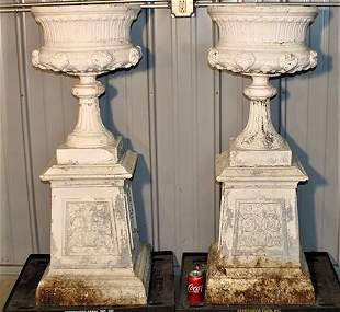 Pair of 4' Antique Cast Iron Aluminum Urns