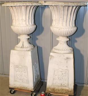 Pair of Antique Cast Aluminum Urns