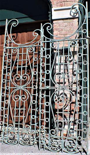 Awesome Pair of Iron Gates 8' Tall with Fancy Scroll
