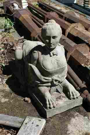 Antique Hand Carved Granite Sphinx Style Garden
