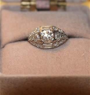 Nice Platinum Art Deco European Cut Diamond Ring with