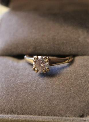 14k Gold Engagement Ring European Cut 1.06 Cts Clarity