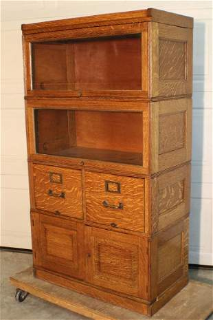 Extra Deep Oak Stacking File Cabinet/Bookcase