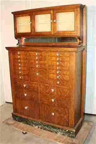Spectacular Oak Multi Drawer Dental Cabinet