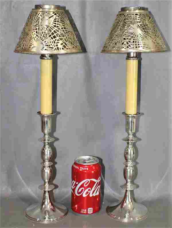 Pair Signed Tiffany Studio Candlestick Lamps