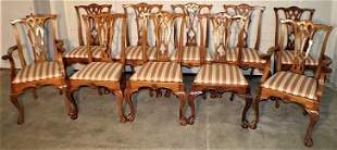 Set of 10 Custom Mahogany Chippendale Chairs