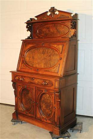 Heavy Burled Drop Front Victorian Desk with Double