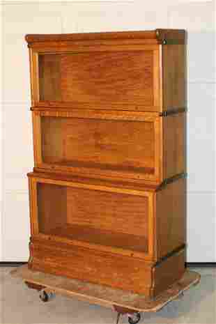 Pristine 3 Section Oak Globe Banister Bookcase with