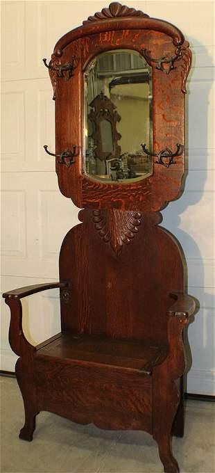 Nice Original Finish Oak Lift Seat Hall Tree