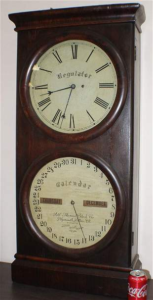 Huge Seth Thomas Rosewood Double Dial Clock