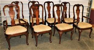Spectacular Set of 8 Cherry Custom Chairs Signed