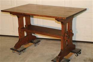 Signed Gustav Stickley 4' Trestle Table