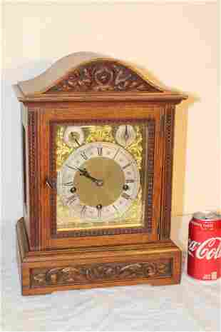 Large Oak Mantel Clock with Chimes