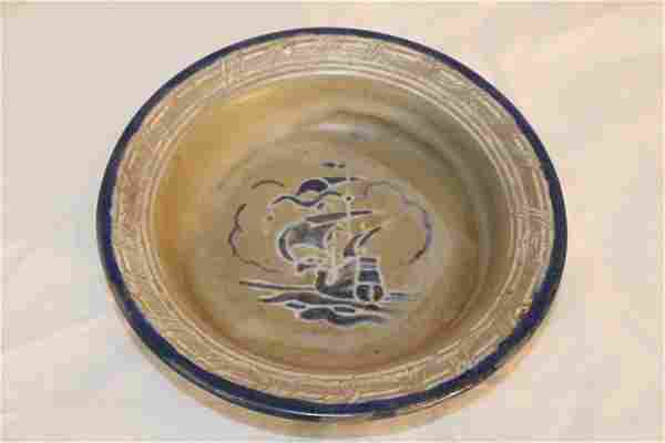 """5.5"""" Signed Marblehead Pottery Bowl with Ship"""