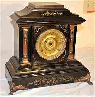 Large Ansonia Mantel Clock with Bronze Coated Columns