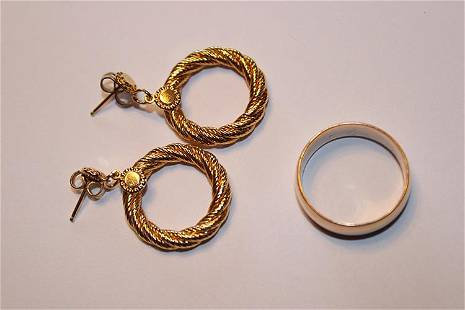 14k Gold Earrings and Wedding Band