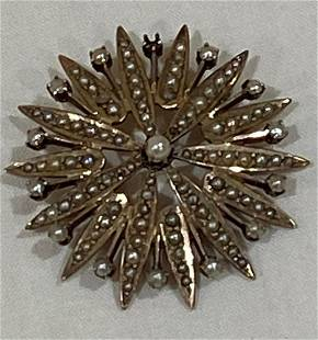 14k Gold and Pearl Starburst Pin