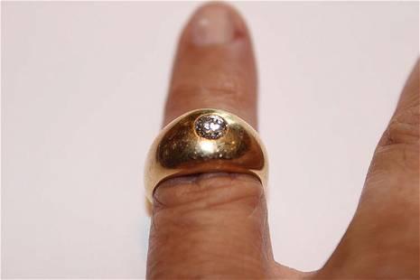 14k Gents Diamond Ring with a Brilliant Cut 1 Carat