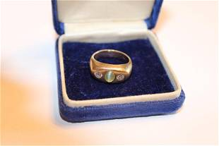 14k Gents Ring with 2 Diamonds and Oval Stone Center