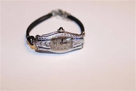14k and Platinum Bulova Watch with Diamonds and