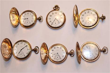6 Gold Filled Pocket Watches, 5 Hunter Cases (Working)
