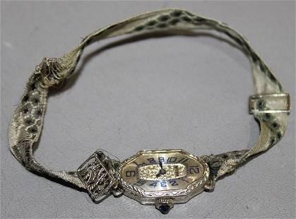 18k White Gold 17 Jewish Bulova Ladies Wrist Watch