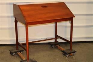 Fine Mid Century Teak Drop Front Desk