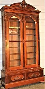 Monumental Walnut Victorian Burled 2 Door Stepback