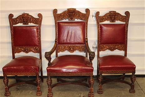 3 Great Oak Horner Chairs with Lions Heads