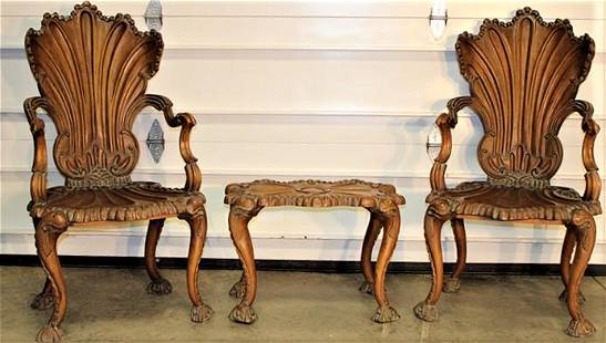 Rare Set of Victorian Chairs and Table with Shell