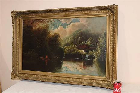 Large Victorian Artist Signed Oil on Canvas